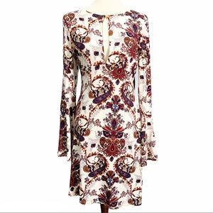 VENUS Paisley Flared Sleeve Boho Mini Dress Medium